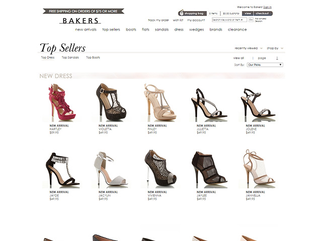 sites internet web bakers shoes